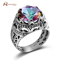 China 925 Sterling Silver Manufacturers Handmade Created Mystic Topaz Ring Vintage Jewelry Sailor Moon Ring For