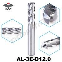 High Precision Machining ZCC CT AL 3E D12 0 Solid Carbide 3 Flute Flattened End Mills