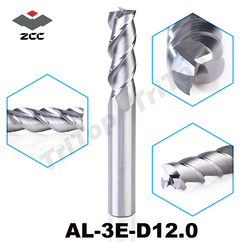 high precision machining ZCC.CT AL-3E-D12.0 solid carbide 3 flute flattened cnc end mill 12mm with straight shank milling cutter