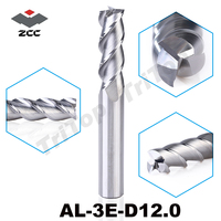 high precision machining ZCC.CT AL 3E D12.0 solid carbide 3 flute flattened cnc end mill 12mm with straight shank milling cutter