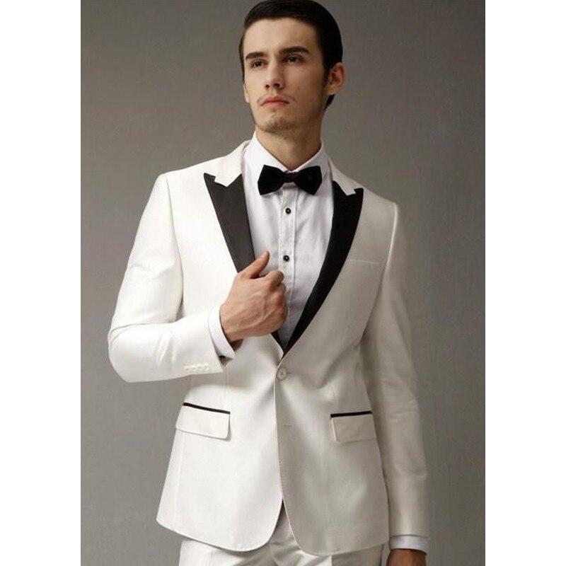 남성 정장 흰색 웨딩 정장 블랙 정점 옷깃 슬림 맞춤 신랑 턱시도 두 조각 들러리 정장 (재킷 + 바지)