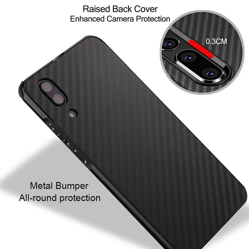 Suntaiho for huawei p20 lite case p20 pro p10 lite Metal Bumper Cover for huwei p smart honor 9 Case mate 10 pro Carbon fiber