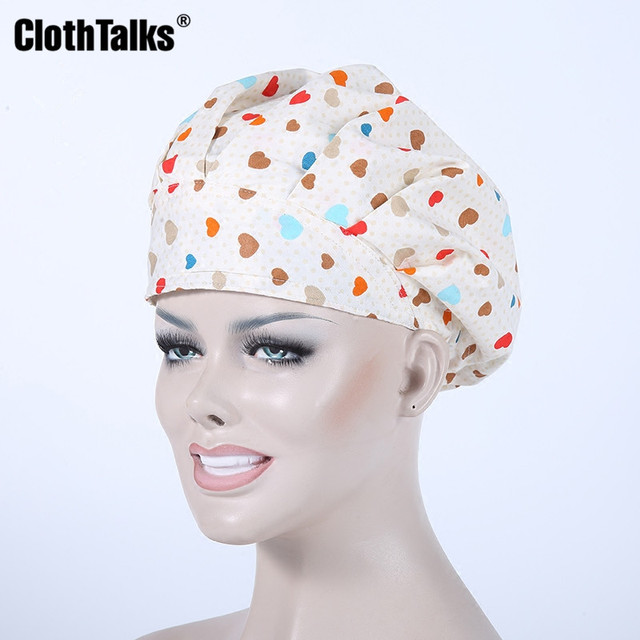 100% Cotton Colorful Love Pattern Scrub Cap Bouffant Medical Surgical  Surgery Hat Cap Doctor Nurse Cap f5c81a4eebb