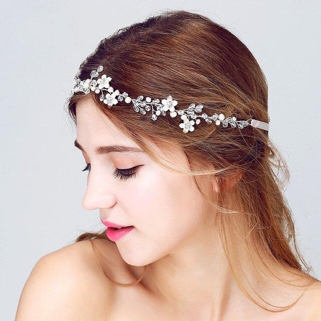 Dower me Silver Handmade Crystal Bridal Headband Wedding Hair Accessories  Floral Headpiece Women Hairband Jewelry 24c6a8279409