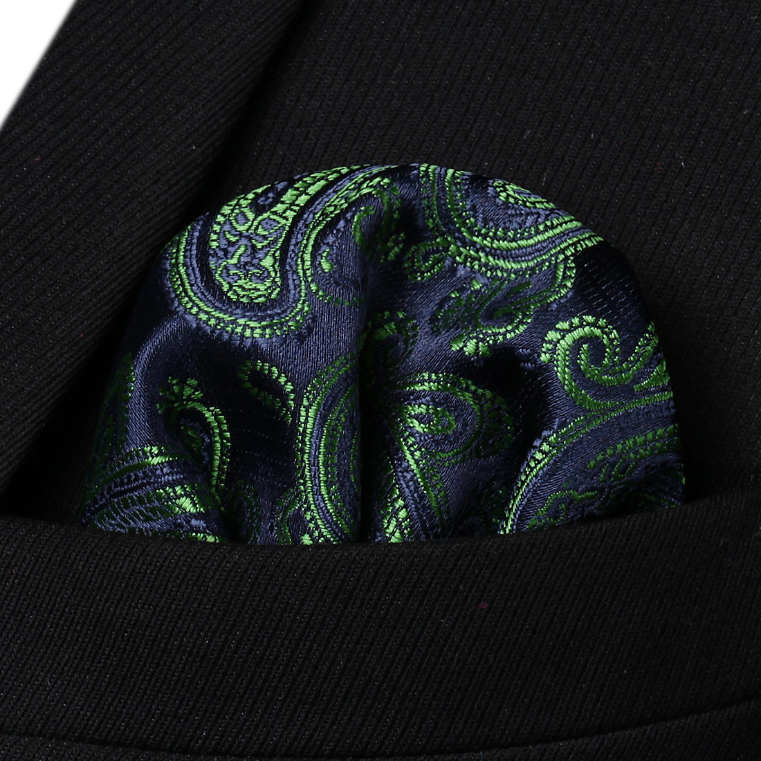 HF433F Green Navy Blue Floral Men Silk Party Handkerchief Pocket Square Hanky