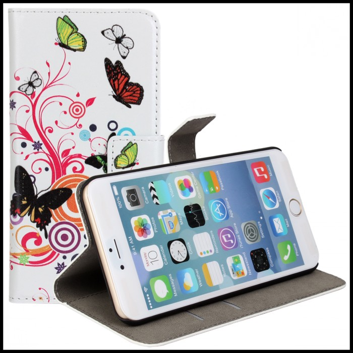 Para iphone 6 s plus casos monedero bolsa cubierta de la carpeta de la flor de a