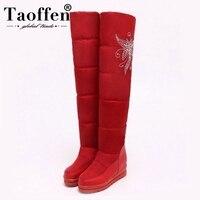 TAOFFEN New Russia Warm Snow Boots Women Platform Waterproof Plush Fur Heels High Over The Knee Boots Winter Boots Size 33 43