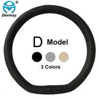 D Ring Car Steering Wheel Cover Leather For Volkswagen VW Golf 7 GTi Mk7 Golf7 Scirocco