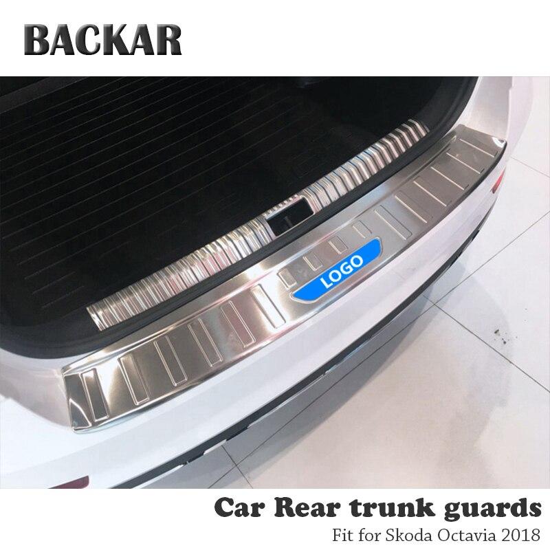 BACKAR 1pc Auto Car Rear Trunk Bumper Stickers Styling For Skoda Octavia A7 2018 Accessories Trunk Door Trim Anti Collision