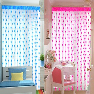 (5 Pcs/Lot)5 Colors Can Be Mix Polyster Fibre Romantic Love Heart Door/Window Curtain,Size 200*100cm,Wholesale