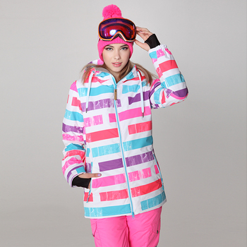 Gsou snow women's ski jacket female skiing tops multicolour stripes snowboarding jacket snow coat skiwear waterproof 10K