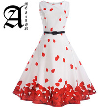 Women 50s 60s Retro Vintage Dress Summer Floral Print Rockabilly Swing Robe Femme Vestidos Sexy Party Audrey Dresses With Belt