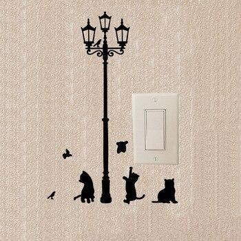 Lámpara creativa gato y pájaro personalizado pegatinas de dibujos animados para interruptor calcomanías de vinilo autoadhesivas decorativas 2SS0464