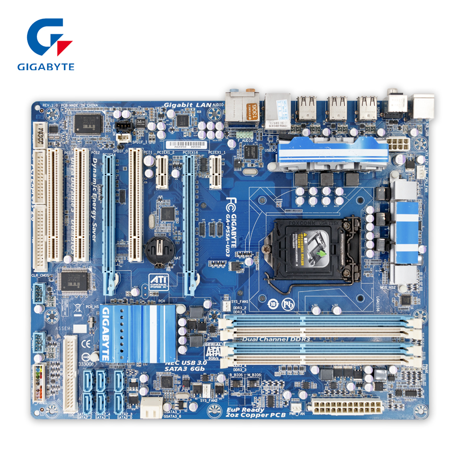 Gigabyte GA-P55A-UD3 Original Used Desktop Motherboard P55A-UD3 P55 Socket LGA 1156 DDR3 ATX On Sale asus p5ql cm desktop motherboard g43 socket lga 775 q8200 q8300 ddr2 8g u atx uefi bios original used mainboard on sale