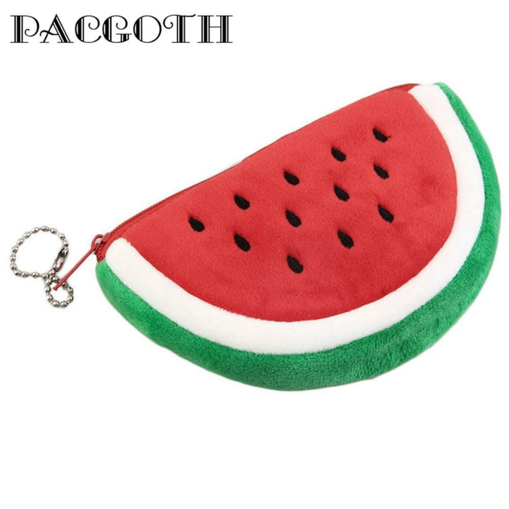 PACGOTH Cute Creative Flannel Watermelon Pattern Coin Purse Multicolors Storage For Coins Money 1 Piece pacgoth creative pvc waterproof cute carton candy color purse dessert donuts summer sweet hearts zipper coin purses money bag
