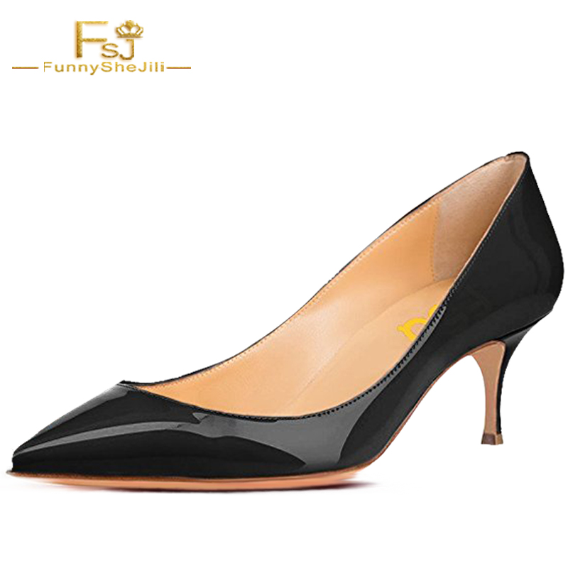 NEW Fashion Womens Nude Leather Classic Kitten 6cm Heels Pointed Toe Pumps Office Ladies Dress Summer Shoes Women Size 47 FSJ new 2017 spring summer women shoes pointed toe high quality brand fashion womens flats ladies plus size 41 sweet flock t179