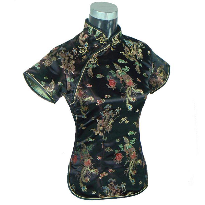 Negro de la novedad del verano blusa Mujer Camisa china para Mujer de satén Poly