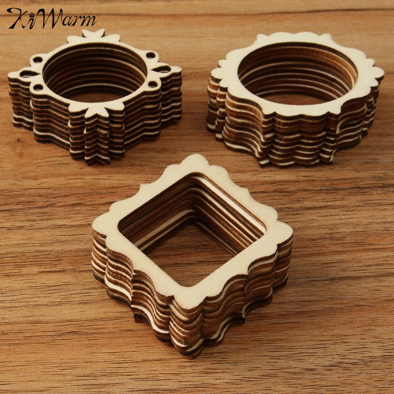 modern 30pcsset unfinished frame carved wooden craft ornaments embellishment for scrapbooking card wall tree diy crafts 3 types