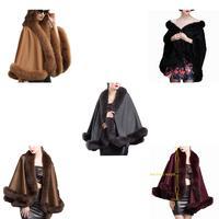 Women's Real Cashmere Poncho Cloak Fox Fur Trim Cape /Shawl /Coat 5 Colors Winter Fashion