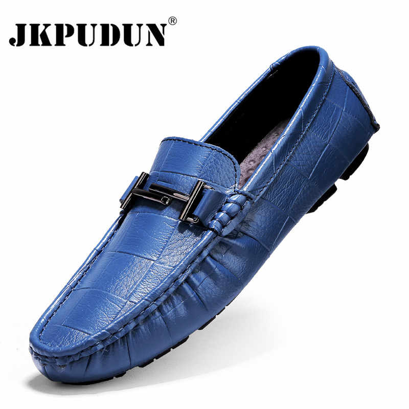Genuine Leather Men Shoes Luxury Brand Casual Slip on Formal Loafers Men Moccasins Italian Black Blue Male Driving Shoes JKPUDUN