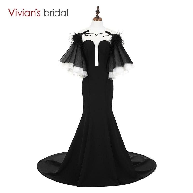 Vivian de Mariée Noir Vintage Sirène Robe Dos Nu Doux Train Formelle Robe De Soirée Princesse Style Flare Parti Manches Robe
