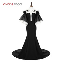 Vivian's Bridal Black Vintage Mermaid Dress Backless Sweet Train Formal Evening Gown Princess Style Flare Sleeve Party Dress
