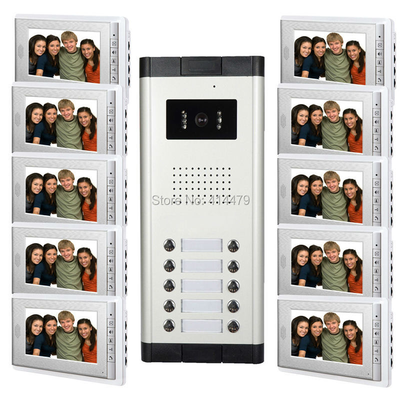 10 Unit Apartment Video door phone Intercom Entry System 7 inch TFT Monitor 10 Keys Call Camera Station my apartment
