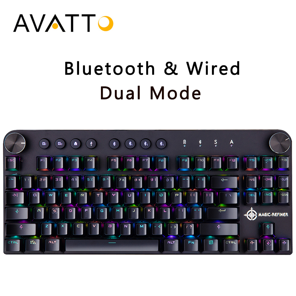 AVATTO MK11 Bluetooth Wireless & USB Wired Two Modes 87 key Mechanical Gaming Keyboard with RGB Backlit for Windows/ios/AndroidAVATTO MK11 Bluetooth Wireless & USB Wired Two Modes 87 key Mechanical Gaming Keyboard with RGB Backlit for Windows/ios/Android