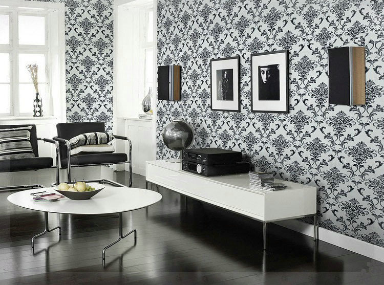 PVC Glitter Black/silver Damask Wallpaper Background Wall Bedroom Wallpaper  For Living Room Wall Papers Home Decor Copper In Wallpapers From Home ...