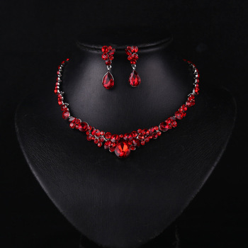 Boutique Red Crystal Jewelry Set Wedding Pageant Necklace Earring Jewelry Bling Bling Party Prom Brides Jewelry Set men beaded bracelet red