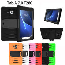 2016 nueva tablet case para samsung galaxy tab a a6 7.0 t280 t285 sm-t280 case armor kickstand híbrido cubierta dura de la pc funda Shell