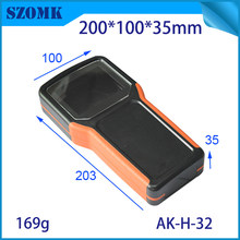 10 pieces, 203*100*35mm szomk plastic electronics project box abs enclosure handheld box 5 x AA battery instrument housing case(China)