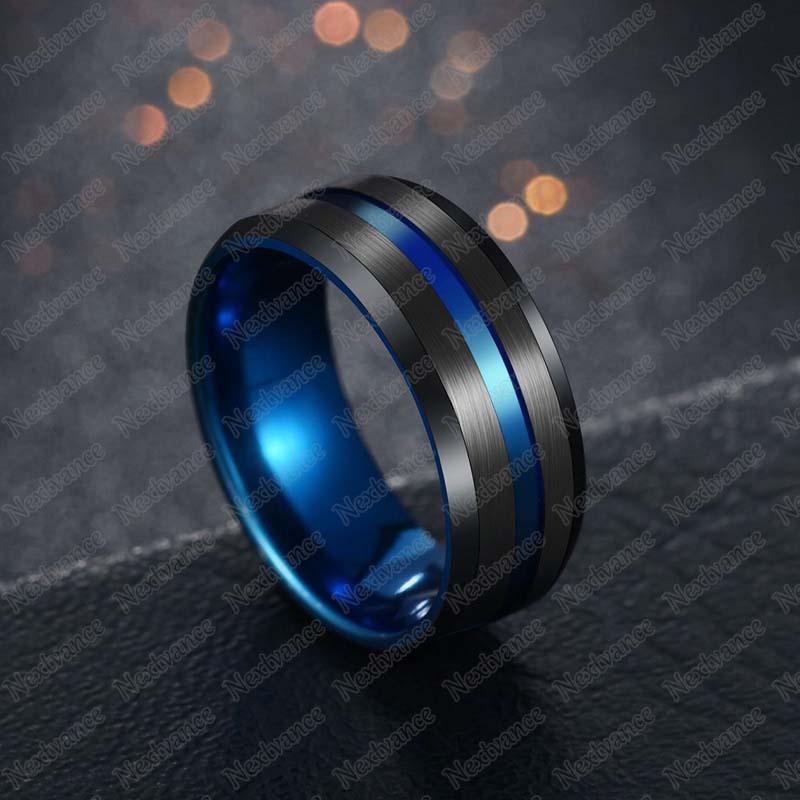 Nextvance, Трендовое кольцо 8 мм из нержавеющей стали, черное, синее, желобчатое кольцо для мужчин, обручальные кольца с радугой, мужские ювелирные изделия, Прямая поставка - Цвет основного камня: blac2