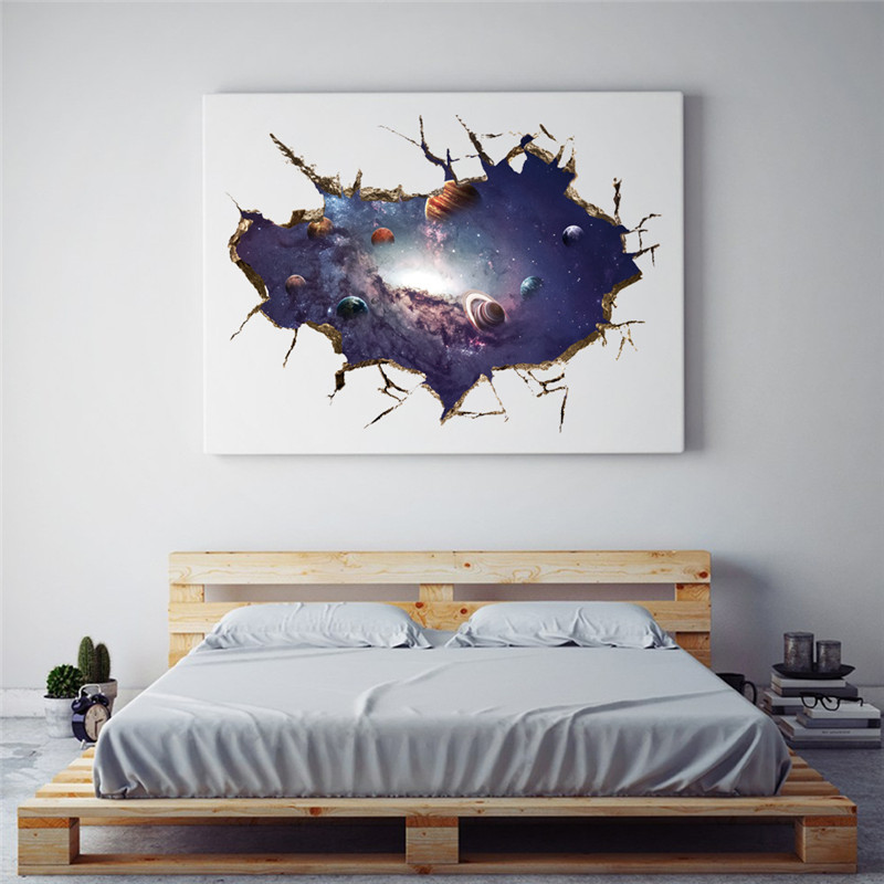 Blue Universe Outer Space Planets 3d Wall Stickers Cosmic Hole Wall Decals For Kids Room Baby Bedroom Ceiling Floor Decoration Wall Stickers Aliexpress