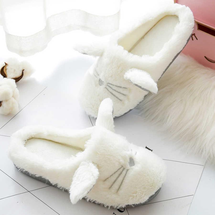 LCIZRONG/милые зимние женские домашние тапочки с котом; домашние тапочки для спальни; мягкая плюшевая подошва; Теплая обувь из хлопка; Рождественский подарок