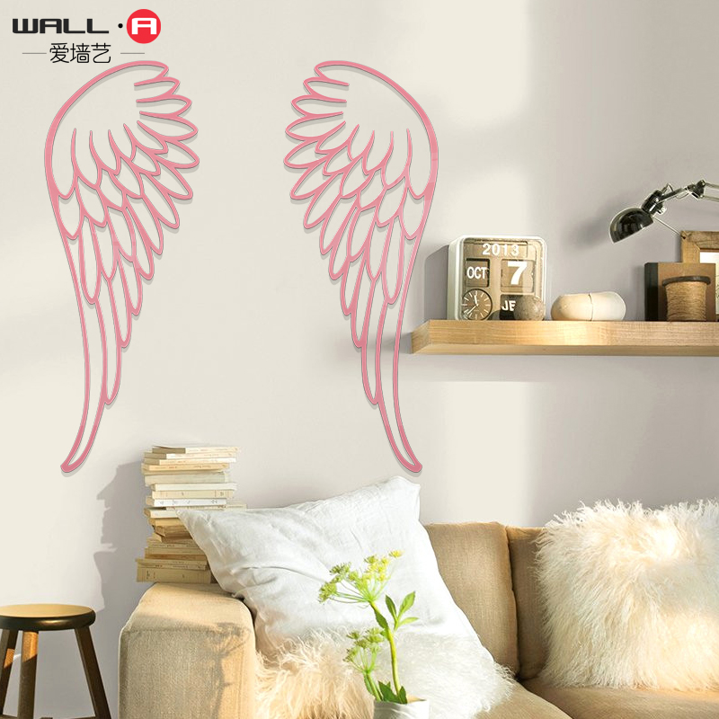 Girl feathers 3D acrylic wall stickers simple feather fun wall stickers in Wall Stickers from Home Garden