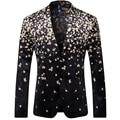 2016 New Flower Men Blazers Terno Masculino Designer Brand Homme Floral Printed Blazers T0105