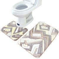 High Quality 2PCS Rug Memory Foam Bathroom Rug Geometry Pattern Mat Professional Design Coral Fleece Floor
