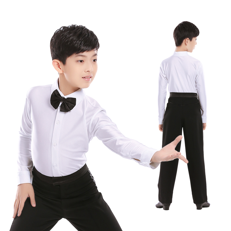 Professional Men Latin Dance Costumes Boys Latin Shirts Ballroom Long Sleeve Tops Pants Performance Wear Tango Clothes DN1088