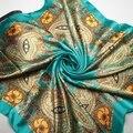 90 cm * 90 cm Mujeres Bufanda Cuadrada de raso de Alta Calidad de Satén de Seda Imitado Bufandas Del Mantón Hijab 2016 estilo de la moda