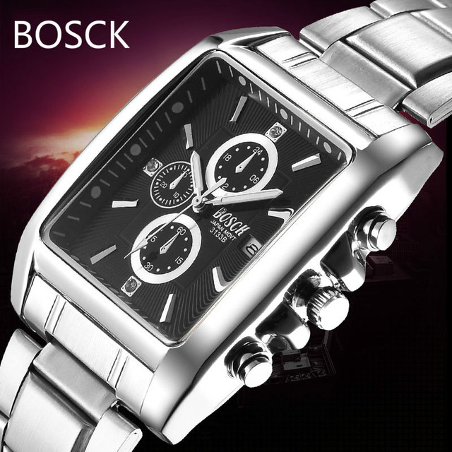 Top Brand Luxury Men Full Steel Watches Men's waterproof Sport's Watch rectangle Fashion Design Business Calendar Quartz Watch