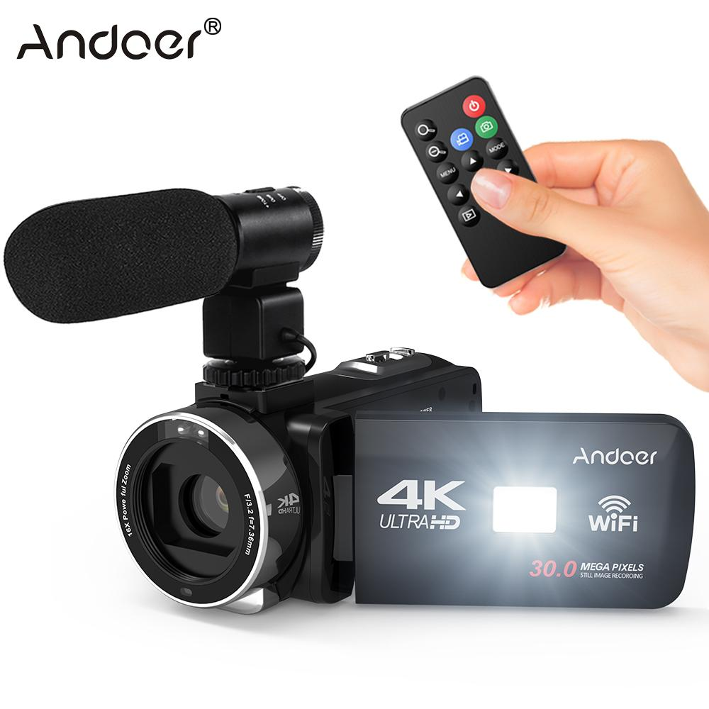 "Andoer 4 K Ultra HD WiFi Digitale Video Camera Camcorder DV Recorder w/Microfoon 16X Zoom 3.0 ""LCD touchscreen IR Nachtzicht-in Klant Camcorders van Consumentenelektronica op  Groep 1"