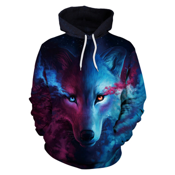 Animal Wolf Head 3D Print Hoodies with H...