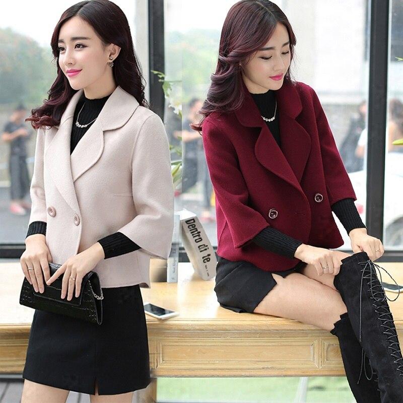 Women Lady Woolen Wool Blend Coat Short Fashion Slim Double Row Button For Winter FS99