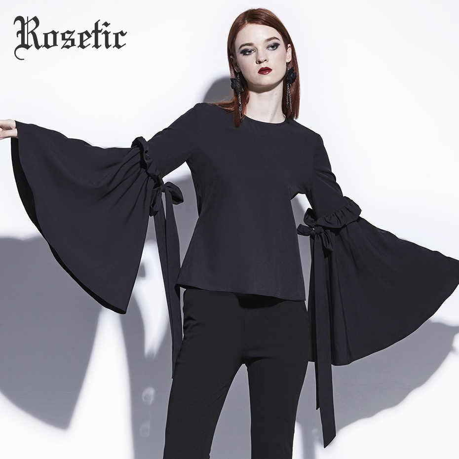 402ee54c19dd Rosetic Gothic Blouse Black Women Straight Flare Sleeve Casual Shirt  Fashion O-Neck Tops Dark