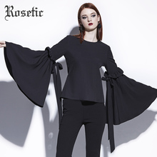 Rosetic Lace-Up Bandage Bow Big Flare Sleeve Blouse O-Neck Black Autumn Fashion Women Gothic Shirt(China)