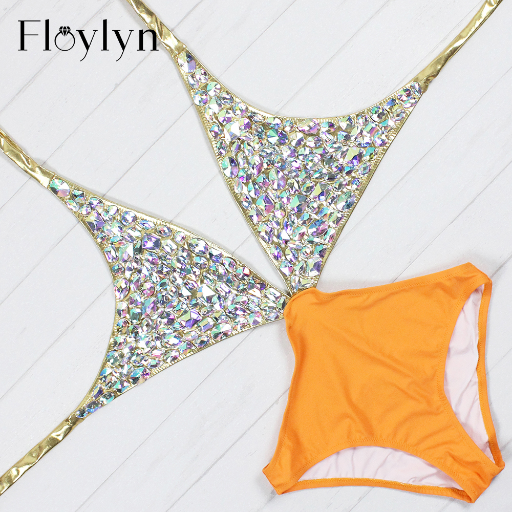 Floylyn 2017 Rhinestone One Piece Women Swimsuit Sexy Cut Out Luxury Diamond Swimwear Backless Crystal Gold Bathing Suit fashionable strappy printed cut out one piece swimsuit for women