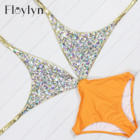 Floylyn 2017 Rhinestone One Piece Women Swimsuit Sexy Cut Out Luxury Diamond Swimwear Backless Crystal Gold
