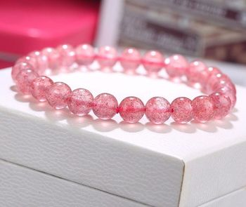 free shipping Natural Ice Strawberry Quartz Crystal Stretch Beads Bracelet 8mm AAA