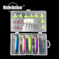 Hard Bait Pencil Lure Kit Fishing Lure Floating Swim Bait With Red Treble Hook Cover Anti